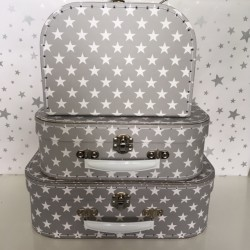 Set of 3 grey star suitcases