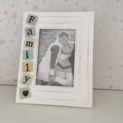 While tiled family photo frame