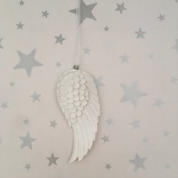 Mini white single angel wing