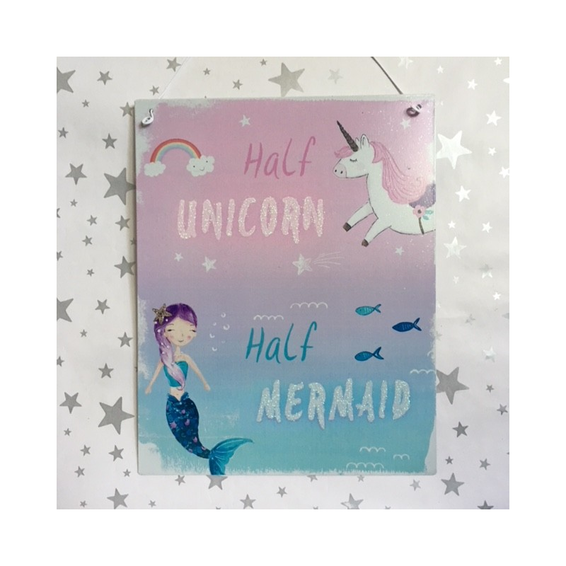 Half unicorn half mermaid - metal sign