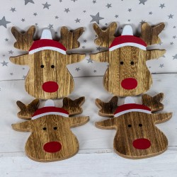 Rudolph shaped wooden coasters