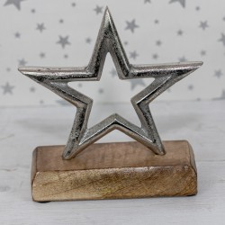 Silver Star on Wooden Base